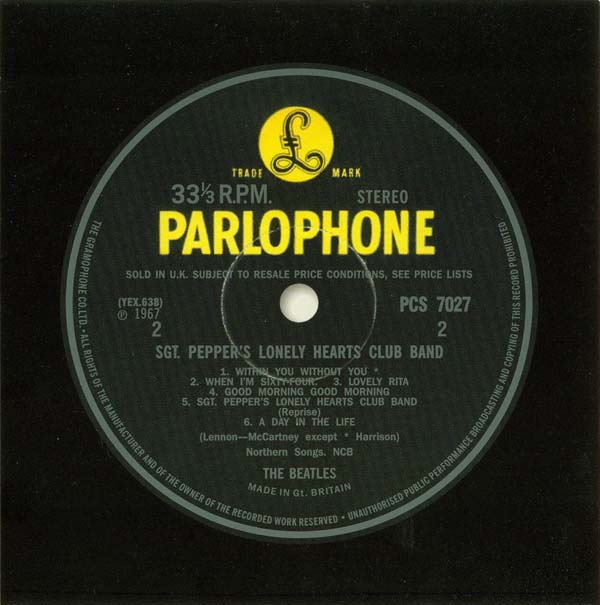 Parlophone Record Label - Side Two, Beatles (The) - Sgt. Pepper's Lonely Hearts Club Band