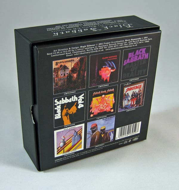 Back of the box, Black Sabbath - The Complete 70's Replica CD Collection