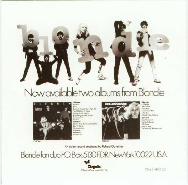 Presence Back Cover, Blondie - Singles Box