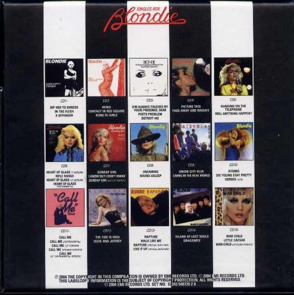 Back of box, Blondie - Singles Box