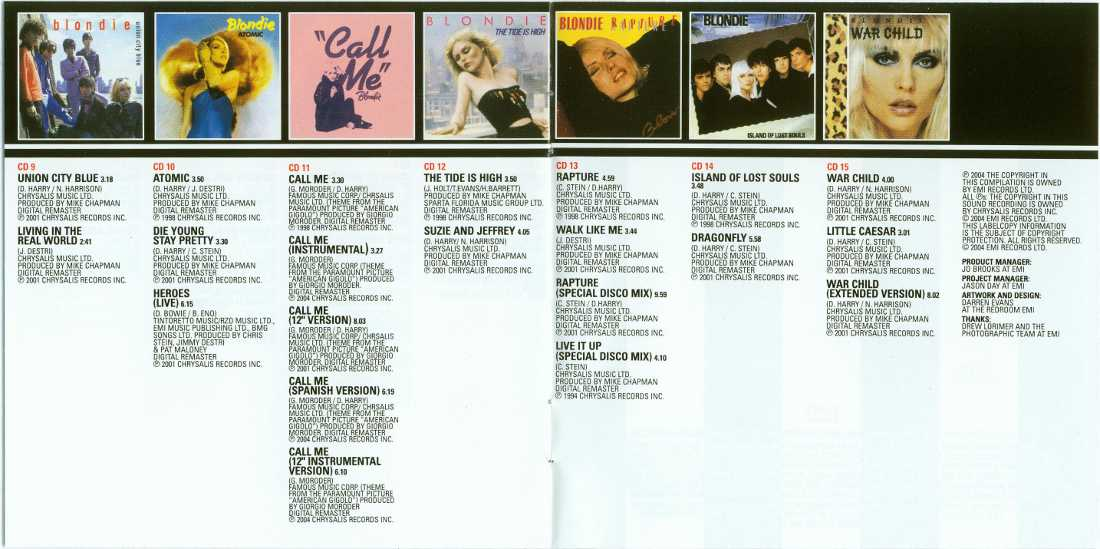 Credits inside back cover of booklet, Blondie - Singles Box