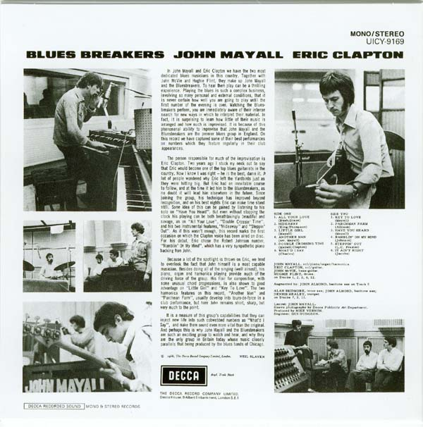Back cover, Mayall, John with Eric Clapton - Blues Breakers