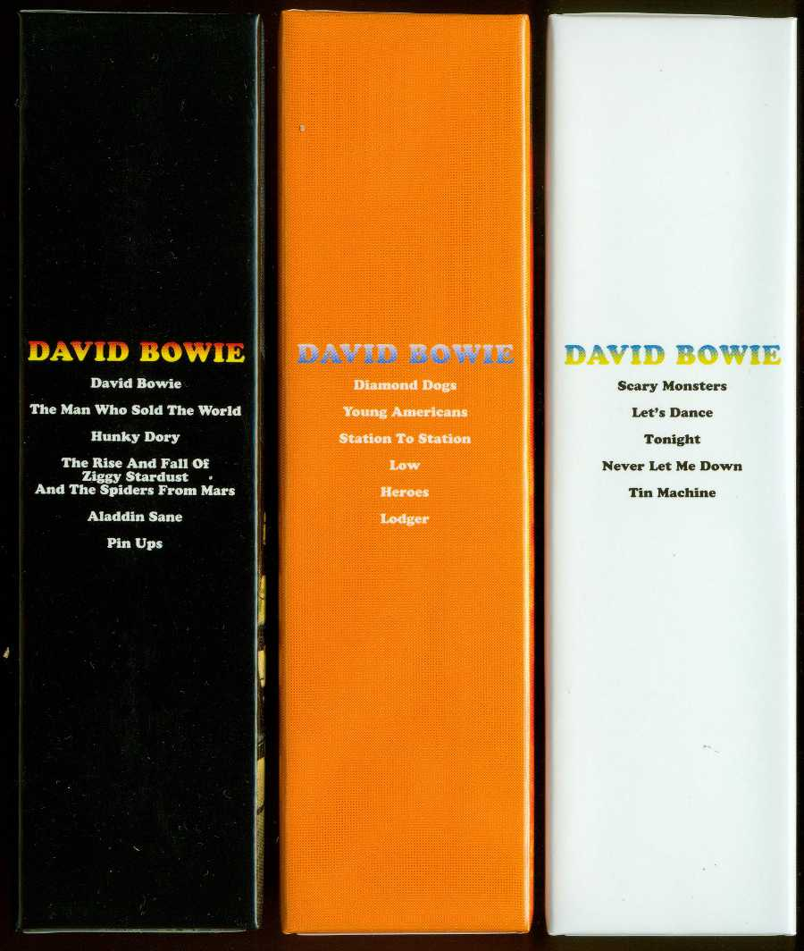Spines of smaller boxes, Bowie, David - Space Oddity Box