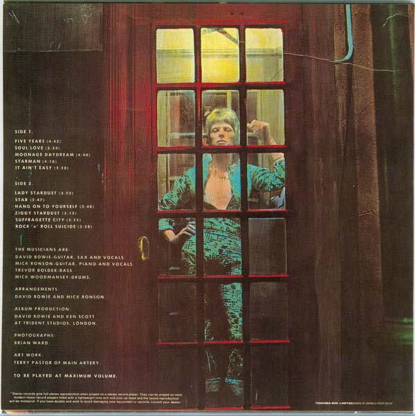 Back cover, Bowie, David - The Rise and Fall of Ziggy Stardust and the Spiders from Mars
