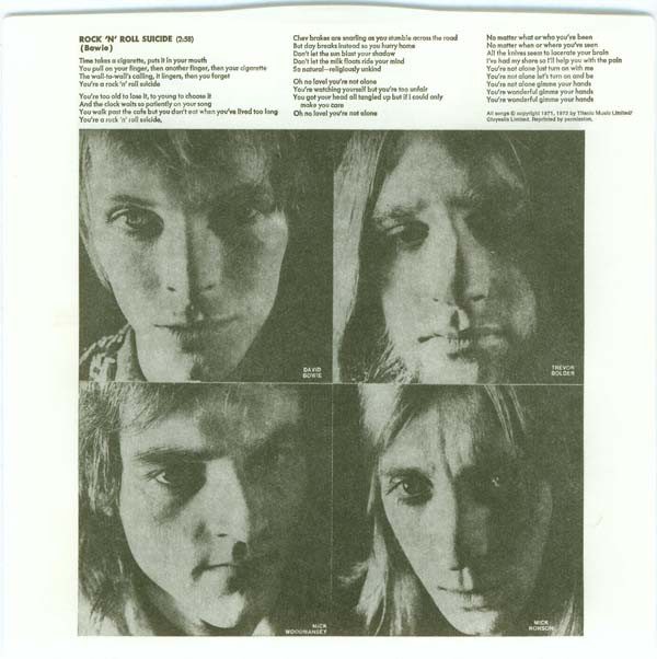 Inner sleeve (back), Bowie, David - The Rise and Fall of Ziggy Stardust and the Spiders from Mars