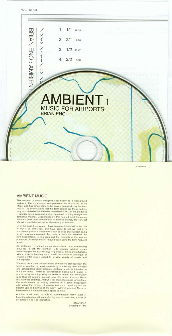 CD, Inner sleeve and insert, Eno, Brian - Ambient 1 - Music For Airports