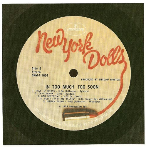 Card w/Serial Number side 2, New York Dolls - In Too Much Too Soon