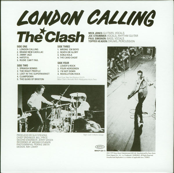 Back cover, Clash (The) - London Calling