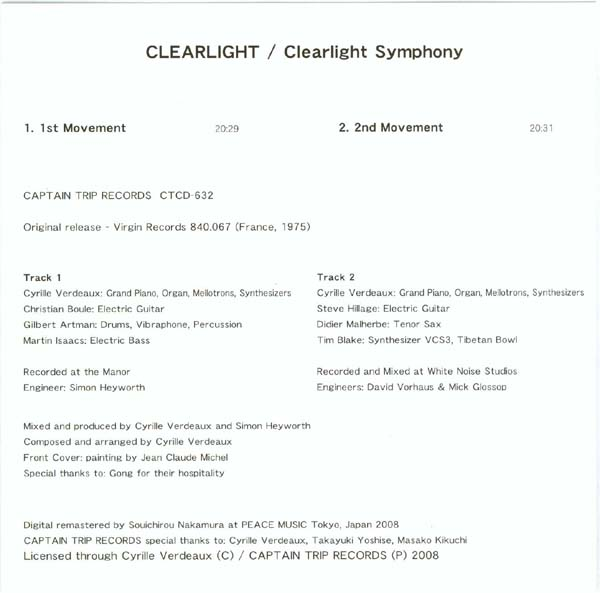 English side of insert, Clearlight - Clearlight Symphony