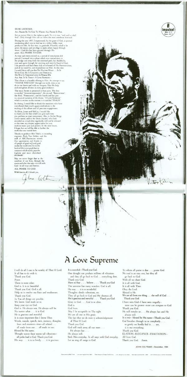 Inside gatefold, Coltrane, John - A Love Supreme