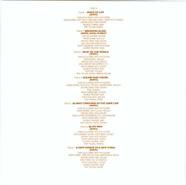 Original insert - Side A, Bowie, David - Low