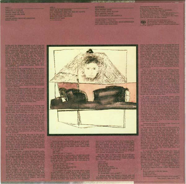 Original back cover, Dylan, Bob - Blood On The Tracks