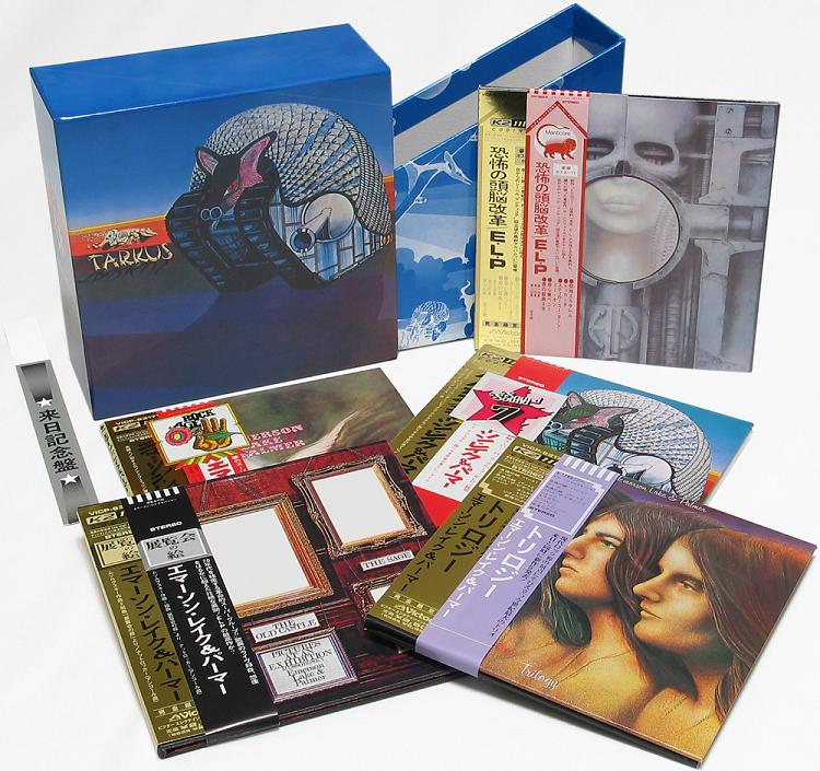 Contents with promo obis on each release (the spare is another Trilogy), Emerson, Lake + Palmer - Tarkus Box and Obis