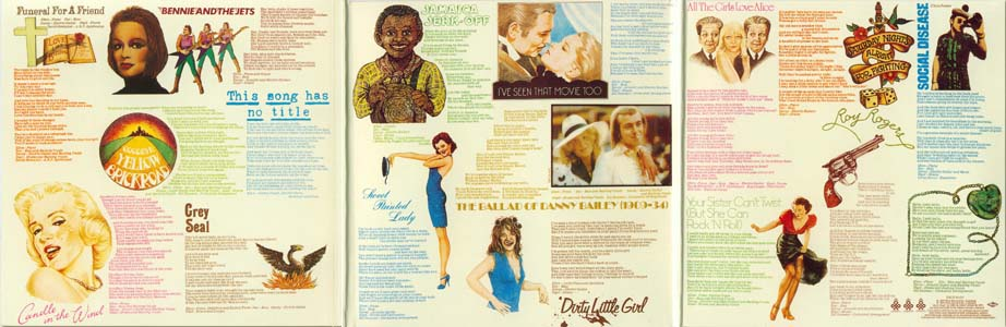 Scan of the complete three page gatefold, John, Elton - Goodbye Yellow Brick Road