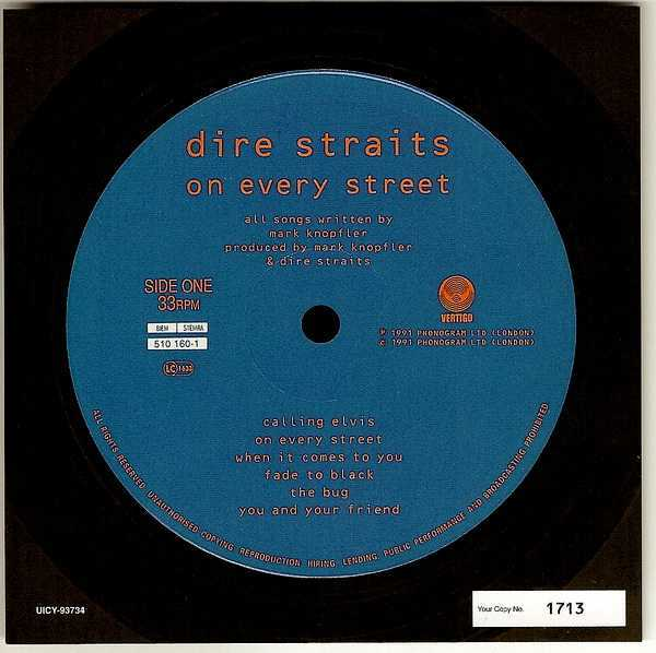 numbered label card, Dire Straits - On Every Street