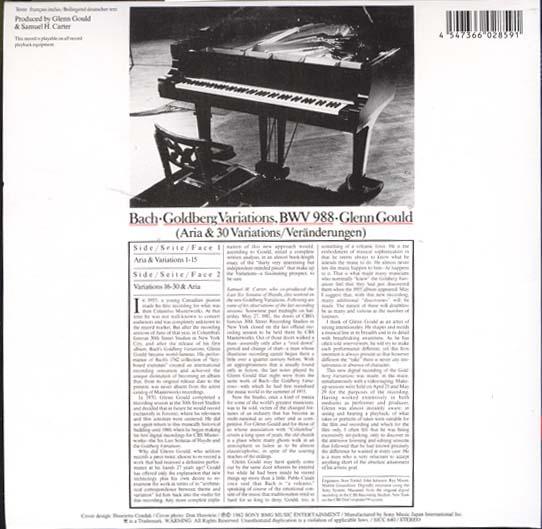 , Gould, Glenn  - Bach Goldberg Variations