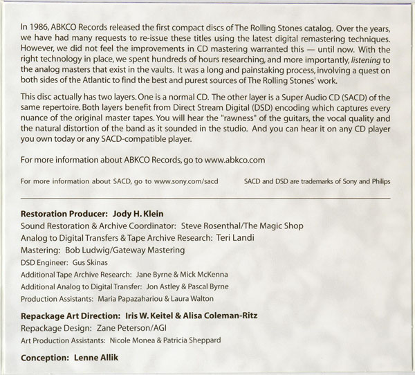 SACD blurb, Rolling Stones (The) - Get Yer Ya-Ya's Out!