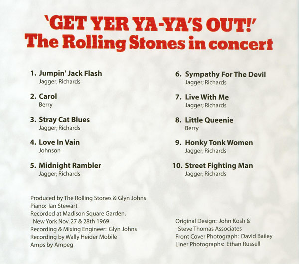 Foldout cover, Rolling Stones (The) - Get Yer Ya-Ya's Out!