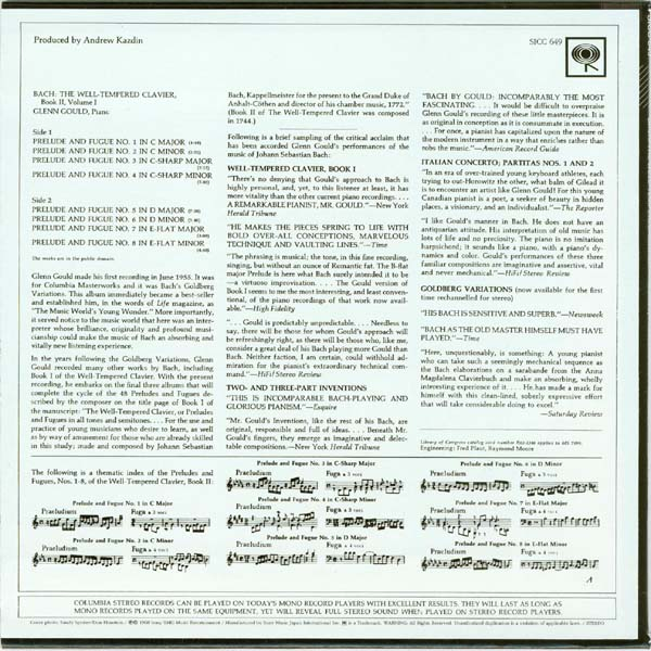 Back cover, Gould, Glenn - Bach: The Well-Tempered Clavier, Book II, Volume 1