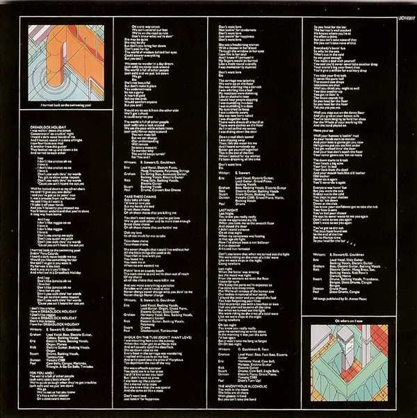 Inner Lyric Sleeve - side 2, 10cc - Bloody Tourists (+3)