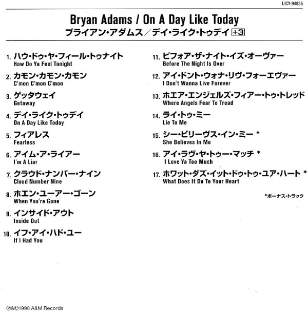 Japanese booklet, Adams, Bryan - On A Day Like Today (+3)
