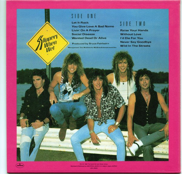 promo cardboard back sleeve from original japanese LP, Bon Jovi - Slippery When Wet