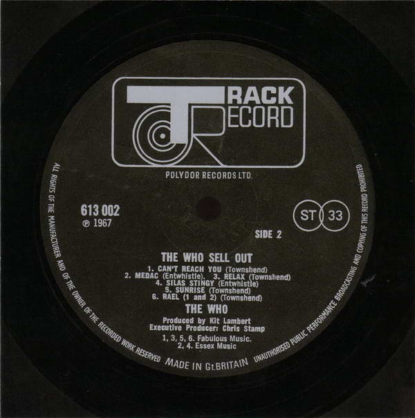 Vinyl Label (Side B), Who (The) - Sell Out