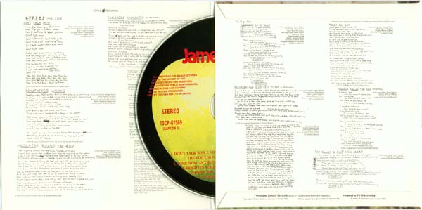 Inside gatefold cover with CD, Taylor, James - James Taylor