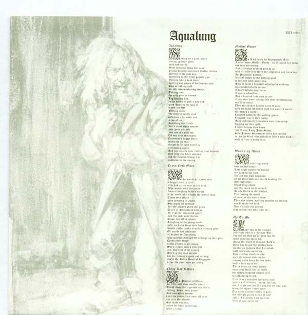 Lyric sleeve, Jethro Tull - Aqualung +6
