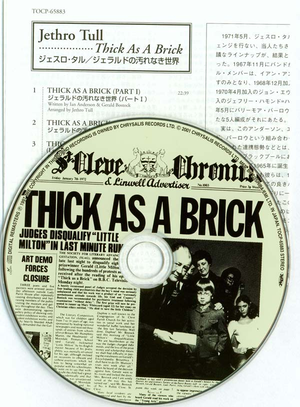 CD and Inserts, Jethro Tull - Thick As A Brick +2