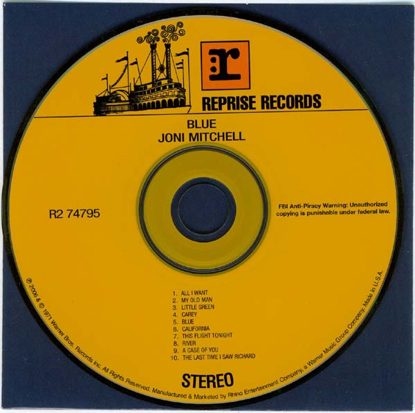 Inner bag and CD, Mitchell, Joni - Blue