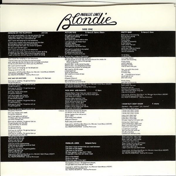 Lyric Sleeve for Disc, Blondie - Parallel Lines (+4)