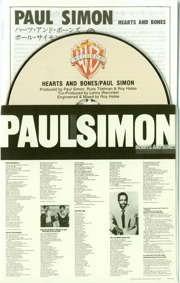 Inner with CD and insert, Simon, Paul - Hearts and Bones +4