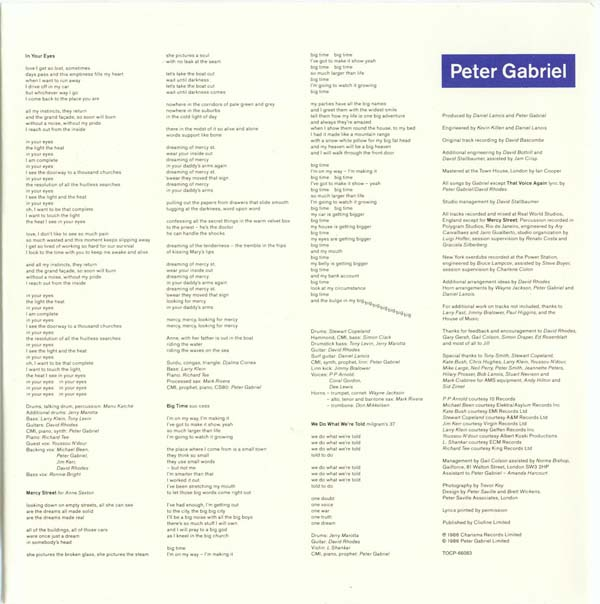Inner lyrics, Gabriel, Peter - So +1