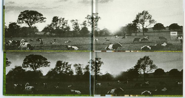 Comparison of Atom Heart Mother - original Japanese v. EU box set (bright matt v. dark gloss) - inside gatefold detail, Pink Floyd - Oh By The Way: European Box Set