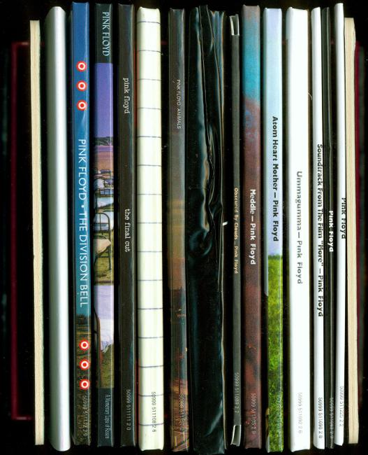 Spines of releases, poster and front and back end cards, Pink Floyd - Oh By The Way: European Box Set