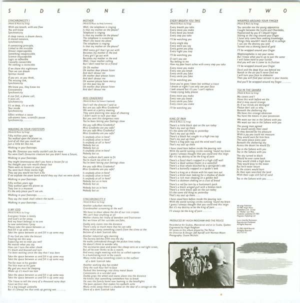 Inner sleeve (lyrics), Police (The) - Synchronicity (enhanced)