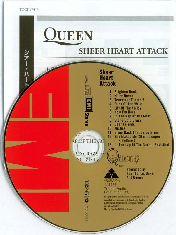 CD and insert, Queen - Sheer Heart Attack
