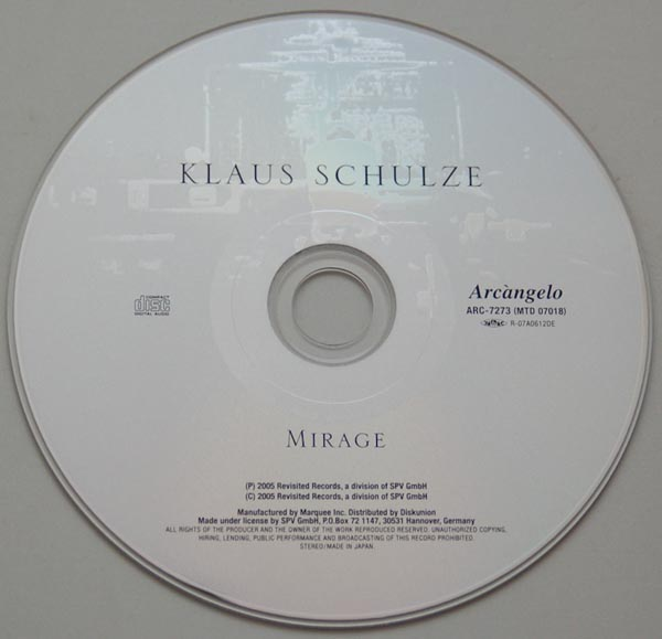 CD, Schulze, Klaus - Mirage