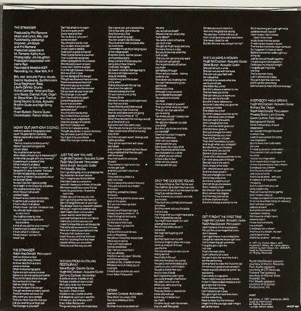 Lyric Bag Sleeve for Disc - Side 2, Joel, Billy - The Stranger