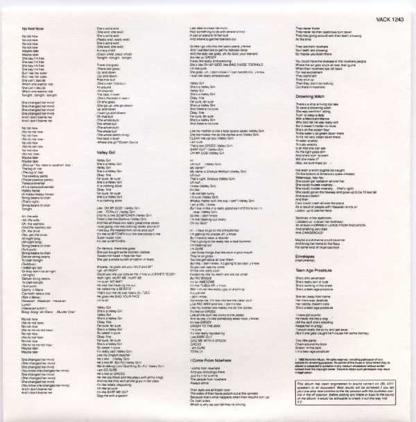 Back of Insert Sleeve, Zappa, Frank - Ship Arriving Too Late To Save A Drowning Witch