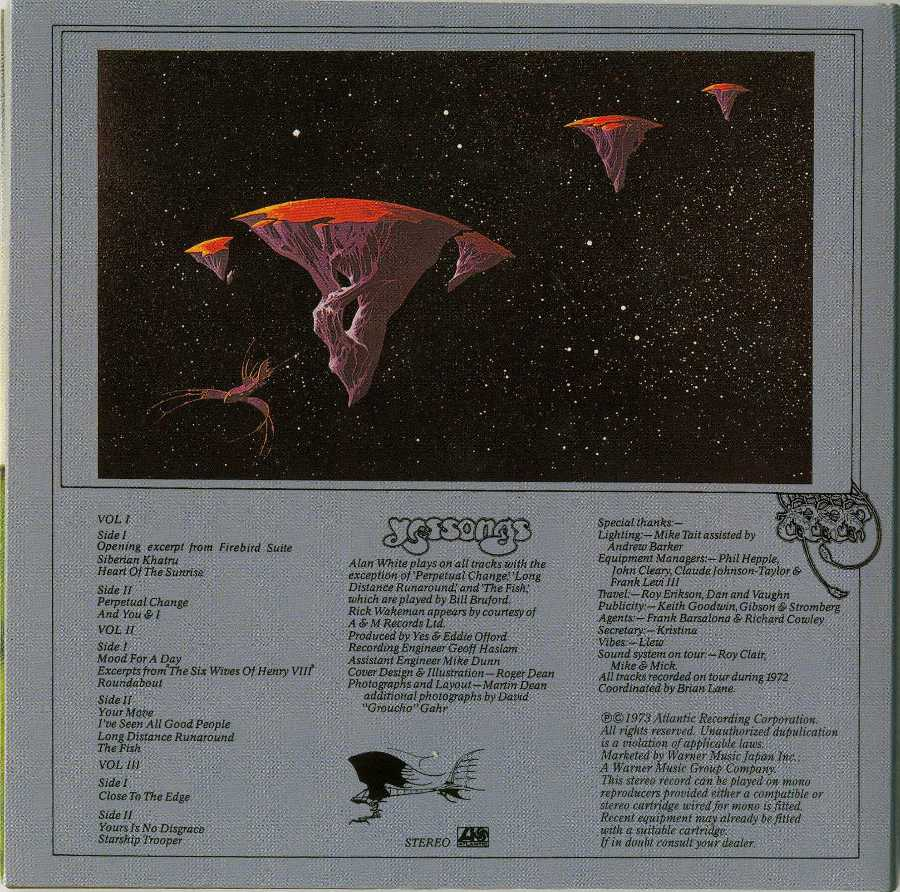 Back cover, Yes - Yessongs