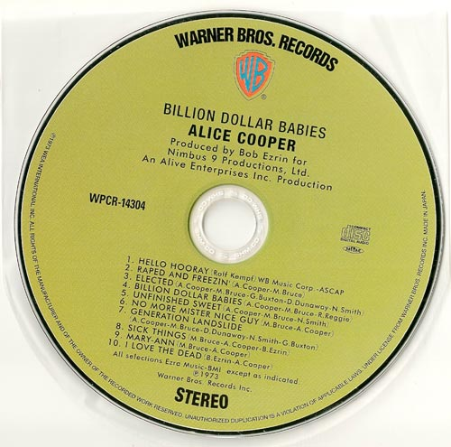 CD, Cooper, Alice - Billion Dollar Babies