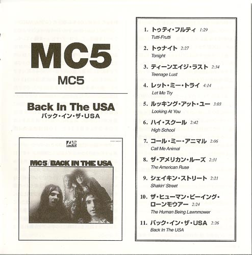 Booklet, MC5 - Back In The USA
