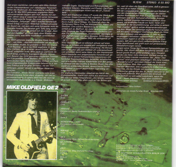 Back Sleeve germany first press LP, Mike Oldfield - Q.E.2 Deluxe Edition