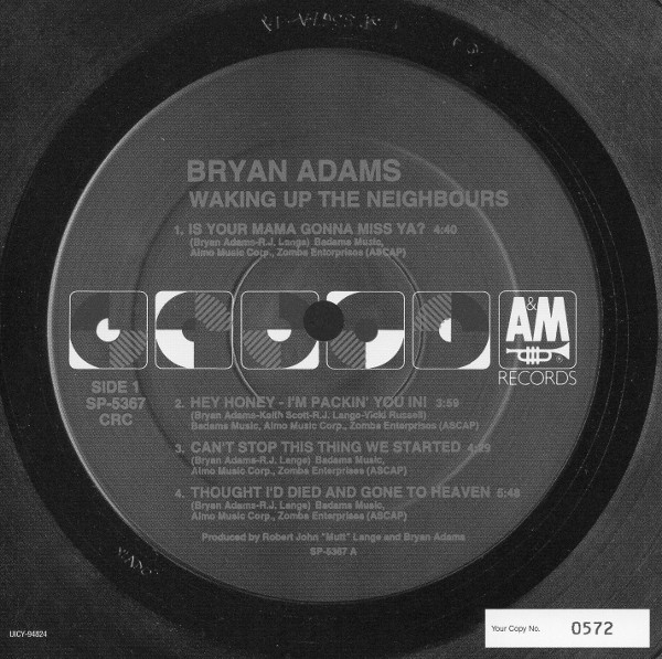 Serial card side 1, Adams, Bryan - Waking Up The Neighbours (+1)