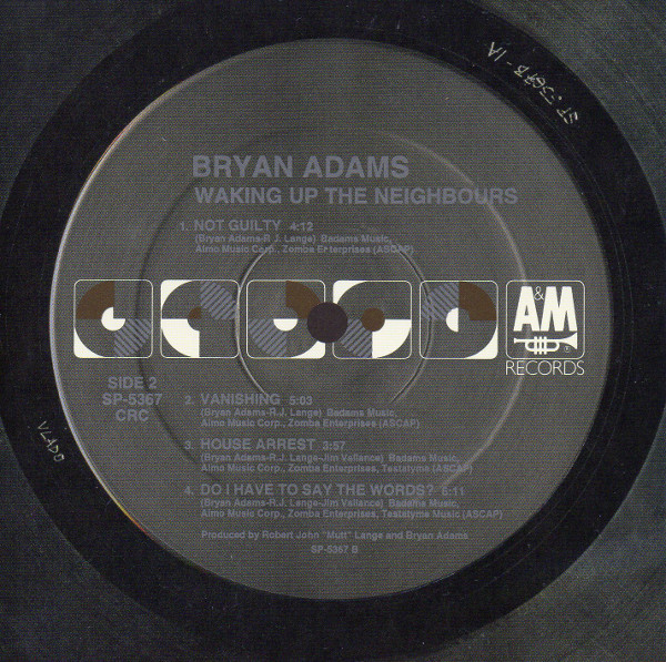Serial card side 2, Adams, Bryan - Waking Up The Neighbours (+1)