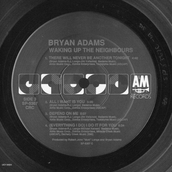 Serial card side 3, Adams, Bryan - Waking Up The Neighbours (+1)