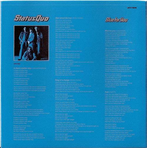 Inner sleeve B side, Status Quo - Blue For You +5