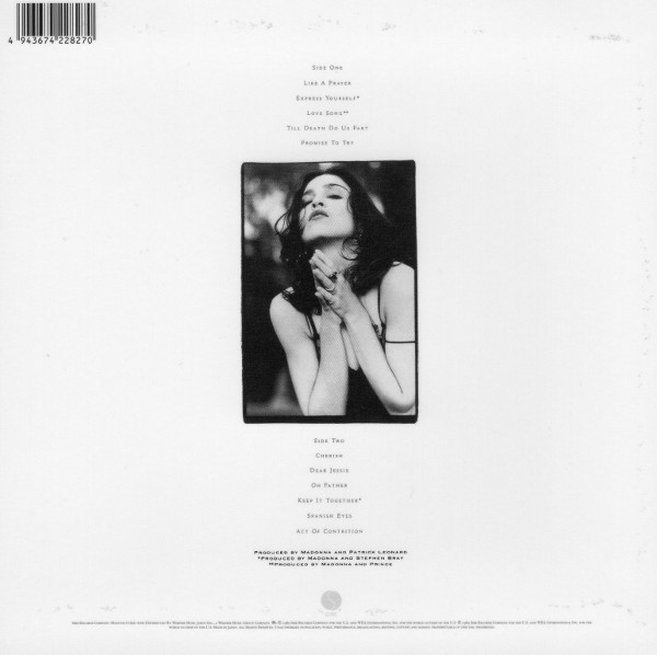 Back sleeve, Madonna - Like A Prayer